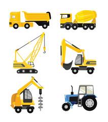 Vector flat construction cars icon set