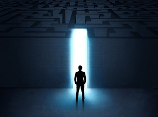 man at the entrance to a maze