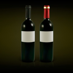 Set of vector wine bottles with blank labels.