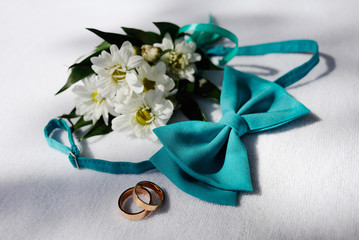 wedding rings and a blue tie butterfly on a background of white