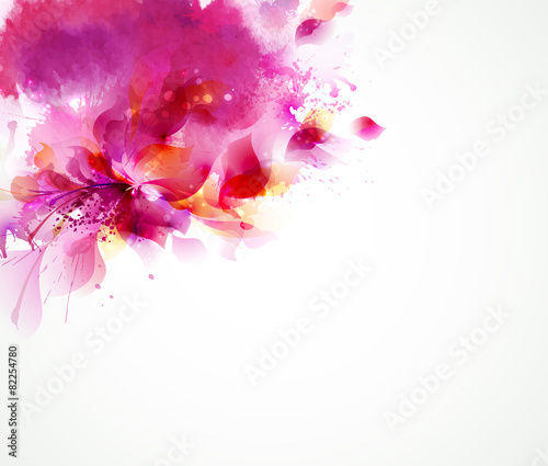 Abstract background with flower and design elements poster