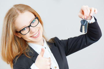 business happy woman holding car keys