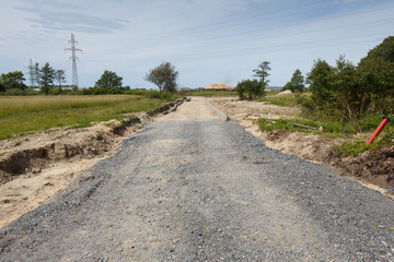 Unfinished road construction