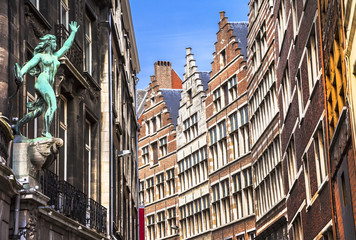 Traditional flemish architecture in Antwerpen city. Belgium