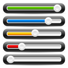 Slider, adjuster interface elements. Horizontal faders for UI de