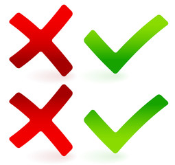 Green checkmark and red cross set