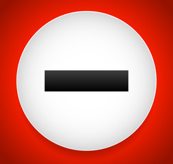 Minus, remove sign or icon over bright red