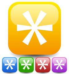Colorful asterisk icon. Footnote, appendix icon