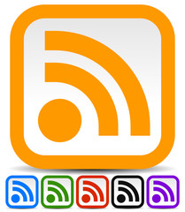 RSS feed or generic signal icons in 6 colors