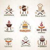 Set of vintage barbecue and grill labels, badges and design elem