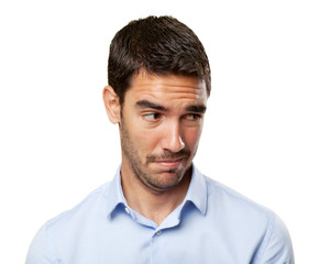 Young businessman doubt gesture