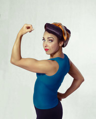 woman biceps show-off