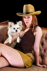 Cowboy girl with puppy