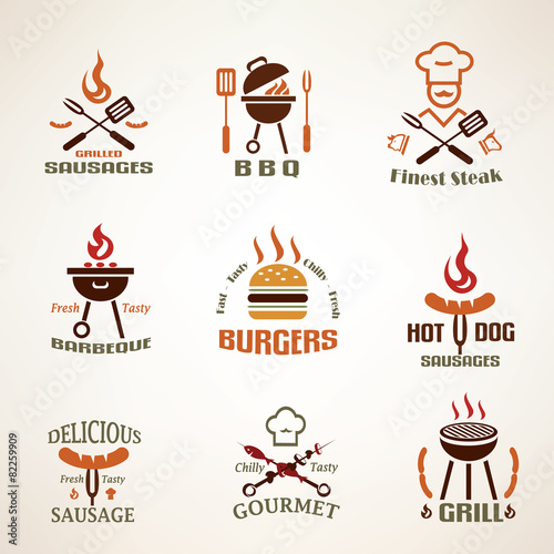 Fototapeta Set of vintage barbecue and grill labels, badges and design elem