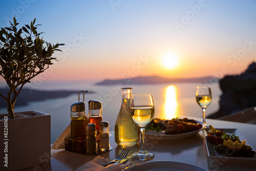 Foto op Canvas Mediterraans Europa Dinner for two and the sea sunset