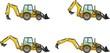 Backhoe loaders. Heavy construction machines. Vector