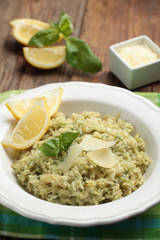 Risotto with Parmesan on a rustic table