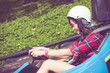 Cute Thai girl is driving Go-kart in retro color - 82262932