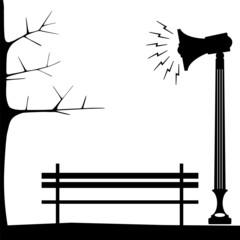 megaphone on the metal pole of city park