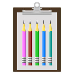 Vector illustration of clipboard with sharpened detailed pencil