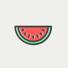 Watermelon slice thin line icon