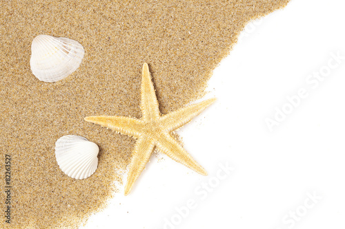 Fototapeta Starfish in the beach sand