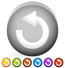 Arrow following a circle path, rotating circular arrow leftwards