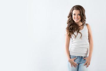 Woman with beautiful long brown hairs, posing
