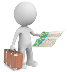 Travel.The dude 3D character holding suitcase and city map.