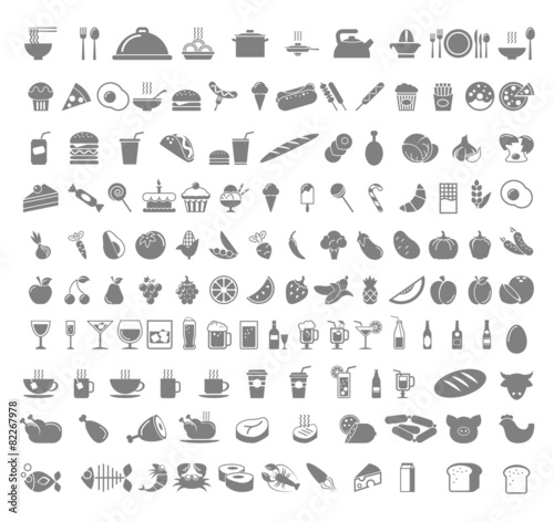 Food and beverages icons. - 82267978