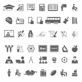Fototapety Set of school and education flat icons