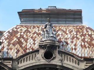 Detail of the Geozavod building in Belgrade, Serbia