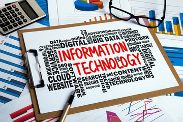 information technology with related word cloud handwritten on cl