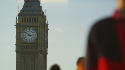 Slow motion blurred crowds in front of Big Ben in London