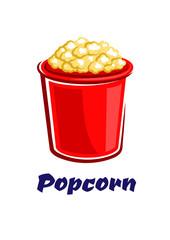 Fresh popped cartoon takeaway popcorn