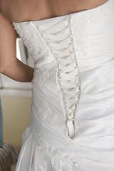 Back of a brides wedding dress