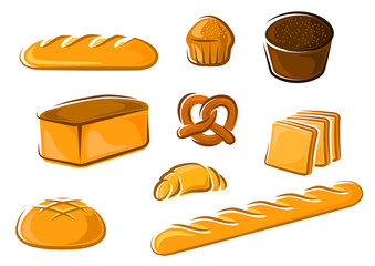 Cartoon bakery products for baker shop design