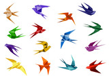 Colorful origami paper swallow birds - 82269561