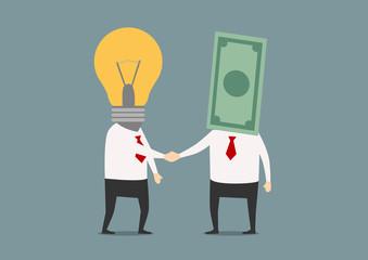 Handshake of businessmen with idea and money