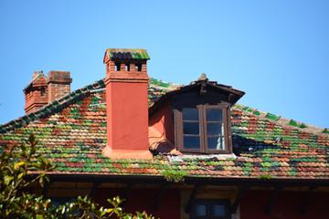 tejado con tejas de colores