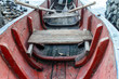 old wood boat in red, closeup detail - 82270516
