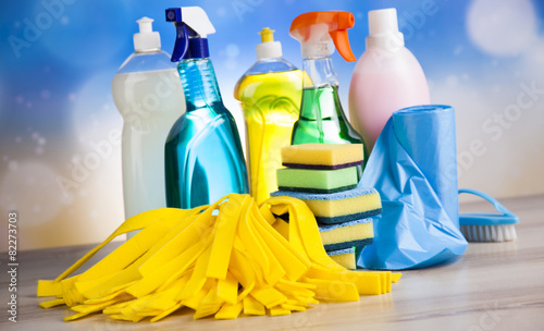 Cleaning products, home work colorful theme - 82273703