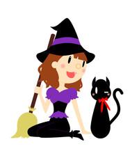 ハロウィン 魔女と黒ねこ