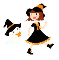 ハロウィン 魔女とおばけ