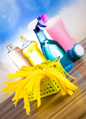 Cleaning supplies,home work colorful theme