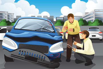 Insurance agent assessing a car accident