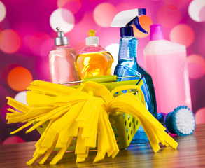 Group of assorted cleaning, home work colorful theme