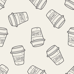 coffee doodle seamless pattern background