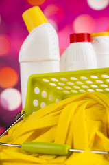 Assorted cleaning products, home work colorful theme