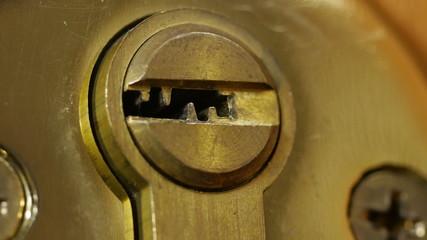 Key unlock open door. 4K UHD video.
